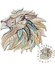 Puzzle en Bois 174 Pièces, Puzzles d'animaux Colorés de Forme Unique (Lion), Adapté Enfants Adultes Adolescents, Idéal pour la Collection de Jeu de Famille