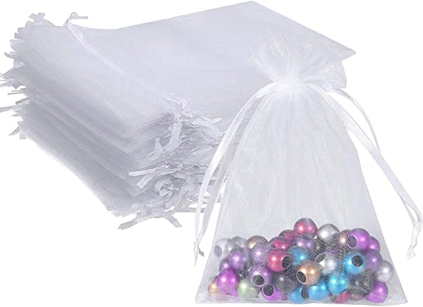 Wuligirl 100pcs 5X7 Inches Christmas Drawstring Organza Gift Bag Pouches Party Wedding Favor Seashell Chocolates Gift Bags For Women White 5x7