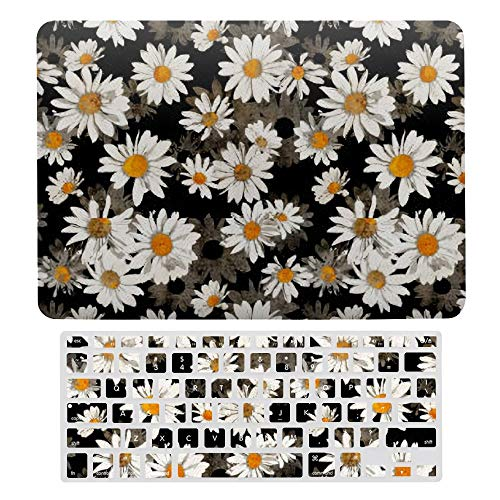MacBook Pro 13 inch Case 2020 2019 2018 2017 Release A2159 A1989 A1706, Plastic Hard Protective Laptop Case Shell With Keyboard Cover, White Daisies On Black Floral