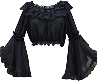 COUCOU Age Lolita Strapless Shirt Blouse Chiffon Trumpet Sleeves for Women Girls