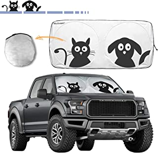 "Windshield Sun Shade with Pet Design,2win2buy Large Cute Cartoon Front Window Auto Sunshade Foldable Silvering UV Coating Sun Visor Protector for SUV,MPVS- Keep Car Cool & Damage Free(74""x35.4"")"
