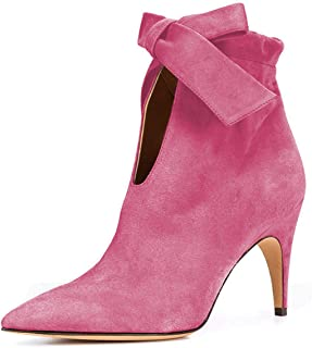 XYD Classical Pointy Toe Ankle Booties Dress Low Kitten Heel Graceful Boots for Women