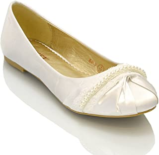 ESSEX GLAM Womens Satin Lace Pearl Bridal Ballerina Pumps