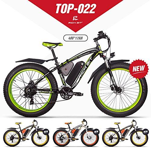 GUOWEI Rich bit RT-022 48V 17AH 1000W Fat Tire Nieve Bicicleta Sin escobillas Motor Playa Montaña Ebike (Black-Green)