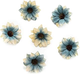 silk flowers in bulk wholesale Rose Artificial Silk Daisy Rose Flowers Wall Heads for Home Wedding Decoration DIY Wreath Accessories Craft Fake Flower 80Pcs 5cm (Dark Blue)