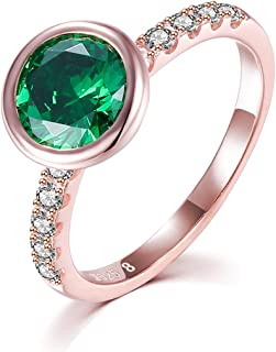 JXSJEW Wedding rings 925 Sterling silver fashion with Green Zircon refraction design rings for Women Girls size 6 and 8