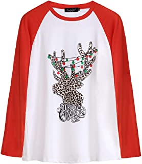 UUGYE Women Long-Sleeve Casual Top Loose Fit Colorblock Christmas T-Shirt Top Blouse 1 S