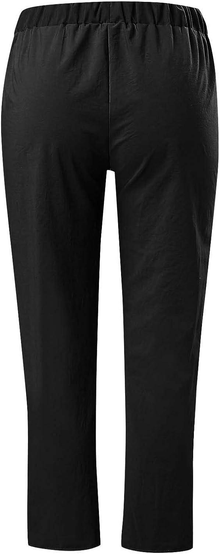 MASZONE Summer Cotton Linen Pants for Women, Women's Pants Printed Harem Pants Casual Cropped Pants Workout Sweatpants