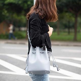 LIMING Bucket bag female simple wild tassel bag leather leather retro shoulder messenger bag sky blue,Colour:Graphite blac...