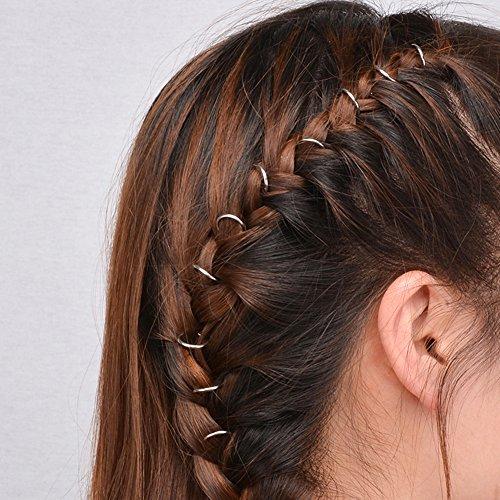 20pezzi di anellini per capelli da intrecciare, a forma di mano, conchiglia, croce, foglia; da donna, stile punk, hip-hop.