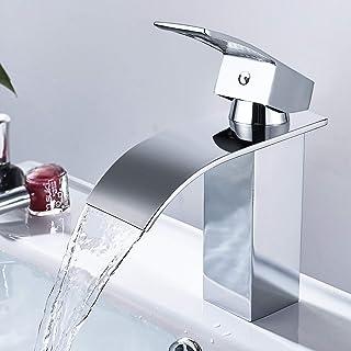 Dalmo DBWF01FA - Grifo mezclador para lavabo de cascada ultrafino, 6 cm, grifo monomando para baño, lavabo de latón macizo y acabado cromado y válvula de cerámica y universal de 3/8 pulgadas