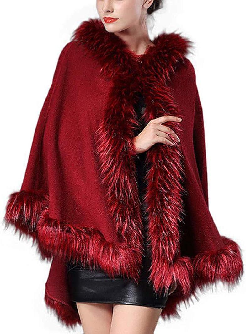 Winter Women Coat Top Women Luxury Faux Fur Coat Shawl Hooded Cape Fluffy Coat