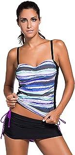 Jug&Po Womens Criss Cross Back Color Block Print Tankini Top with Boyshorts Swimsuit