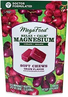 MegaFood, Relax + Calm Magnesium Soft Chews, Grape Flavor, 30 Chews