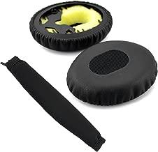 Geekria Earpad for Bose QC3, ON Ear, QuietComfort 3 Headphone Replacement Ear Pad + Headband Cover/Ear Cushion/Ear Cups/Ear Cover/Earpads Repair Parts/Headband Protector (Black)