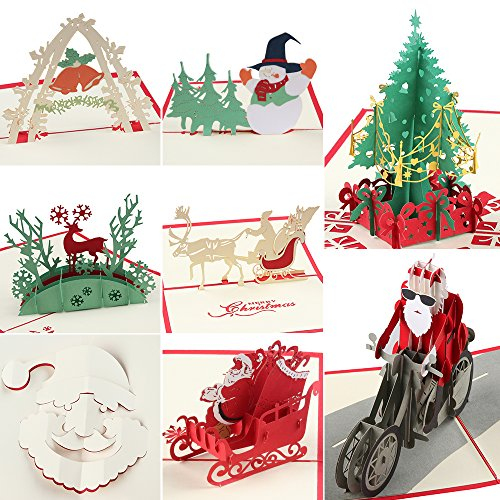 Coohom 3D Pop Up Christmas Card with Envelope Set of 8 - Handmade Paper Craft Get Well Soon Cut out Greeting Card for New Year Holiday Gift - Feature Xmas Tree,Snowman,Reindeer and Bell