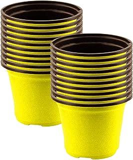 TrustBasket Nursery Plastic Pot 5 inch (Set of 20 Pots) - Yelllow
