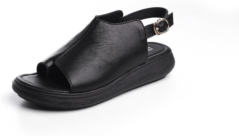 DANDANJIE Frauen Sandalen Neue Ledersandalen Fisch Mund Clip Toe Retro Schuhe Mdchen Bequeme Flache Ferse Outdoor Fashion Schuhe (Farbe   Schwarz, Gre   39)