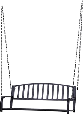 Outsunny 2 Person Front Hanging Porch Swing Bench, Outdoor Steel Swing Chair with Sturdy Chains, for Backyard, Deck, 550 lb W