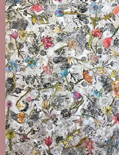 Notizen: Bild Tapisserie mit Frühlingsblumen, künstlerisches Tagebuch, Notizbuch liniert mit Blumen, Journal zum Reinschreiben mit Blumendeko