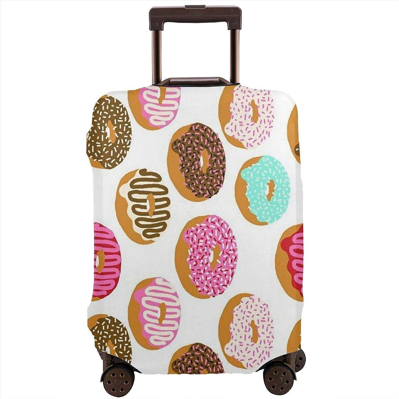 平日スリチンモイ戦うLuggage プロテクター 洗濯機で洗えます 目に見えないジッパークロージャーとバックル付き 印刷されたパターンを使って バックル 旅行用 男女通用 Delicious Doughnuts Pattern ドーナツ