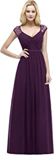 Women's Deep V Neck Bridesmaid Dresses Long Prom Formal Evening Gowns