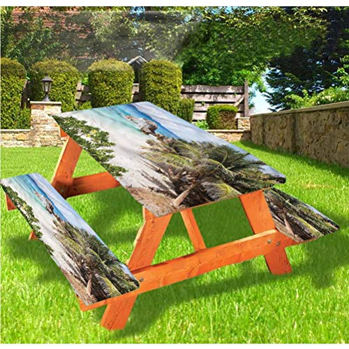 LEWIS FRANKLIN - Cortina de ducha para playa de lujo, mantel de picnic exótico Shoreline Palm Trees con borde...