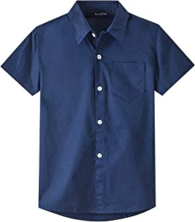 Spring&Gege Boys' Short Sleeve Dress Shirts Formal Uniform Cotton Solid