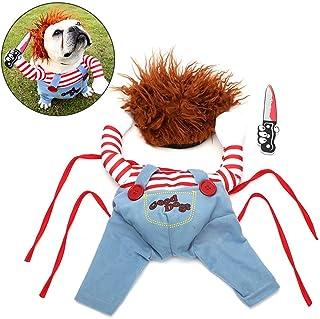 Disfraz de perro mascota Ropa de perro de Halloween con peluca Suministros para perros medianos grandes
