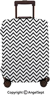 Washable Polyster Travel Luggage Protector,Monochrome Herringbone Pattern Lines Three Dimensional Effect Dark Blue White,23.6x31.9inches,Fashion Baggage Suitcase Cover