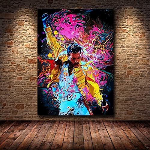 Sanguolun Cuadros Decorativos Mural de Pared Abstracto clásico Freddy Mercury Queen Bohemian Rhapsody Poster Sala de Estar decoración del hogar 60x90cm
