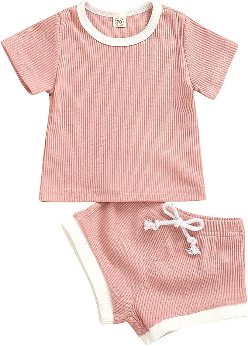 Pinleck Toddler Baby Shorts Set Boy Girl Summer Outfits Short Sleeve Stripe T-Shirt Shorts Suit