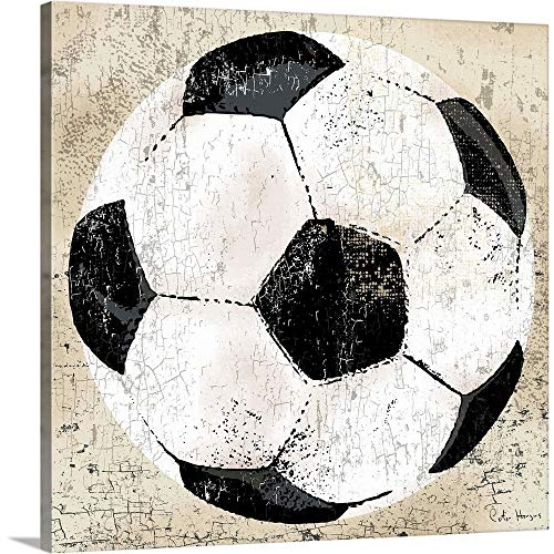 Vintage Soccer Ball Canvas Wall Art Print, Soccer Artwork