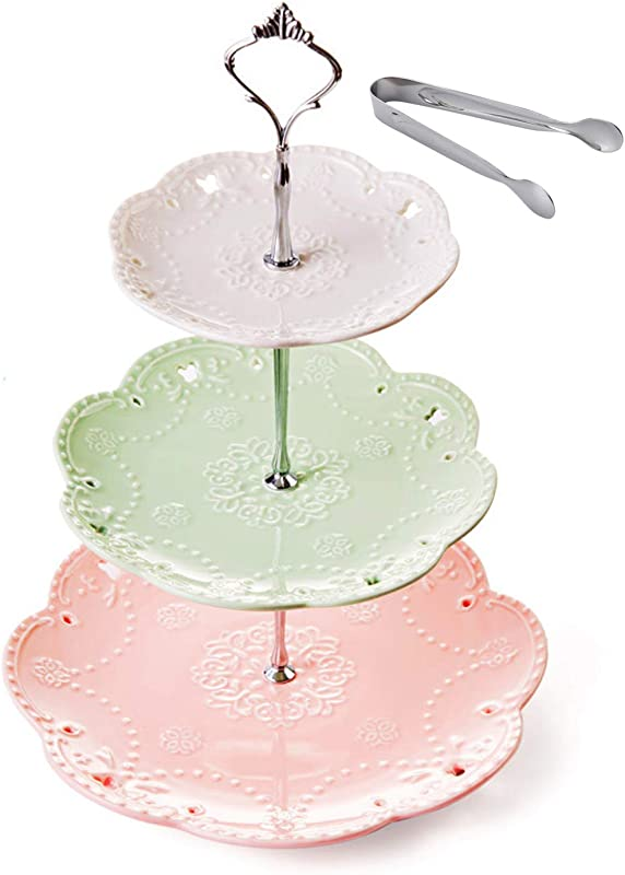 Jusalpha 3 Tier Ceramic Cake Stand Dessert Stand Cupcake Stand Tea Party Serving Platter Comes In A Gift Box Free Sugar Tong 3 Color Silver