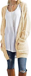 Traleubie Women`s Open Front Long Sleeve Boho Boyfriend Knit Chunky Cardigan Sweater