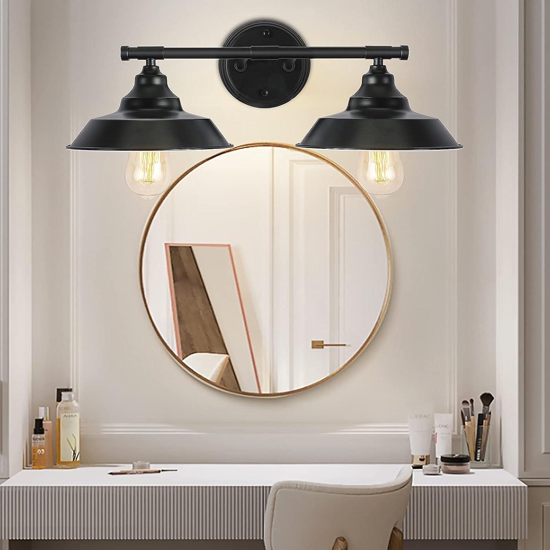 SGLfarmty 2 Bathroom Lights Black Bathroom Light Fixtures,Bathroom Vanity Lighting Fixtures, 2 Lights Black