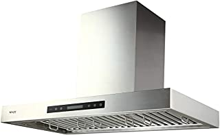 IKTCH 36 inches Wall Mount Range Hood, 900 CFM Stainless Steel Kitchen Chimney Vent with Gesture Sensing & Touch Control Switch Panel, 2 Pcs Adjustable Lights, 3 Pcs Baffle Filter IKP01-36