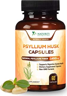 Psyllium Husk Capsules, Highest Potency Dietary Fiber 1450mg - Psyllium Powder Supplement, 100% Soluble Pills, Helps Constipation, Digestion, Intestinal Health and Natural Weight Loss - 60 Capsules