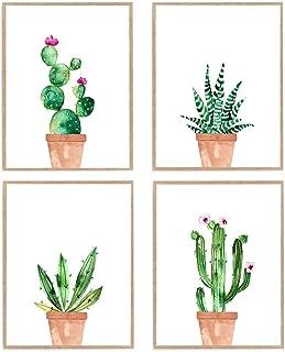 Succulent Print Set of 4, Watercolor Cactus Poster, Pastel Botanical Wall Art 8x10 Unframed