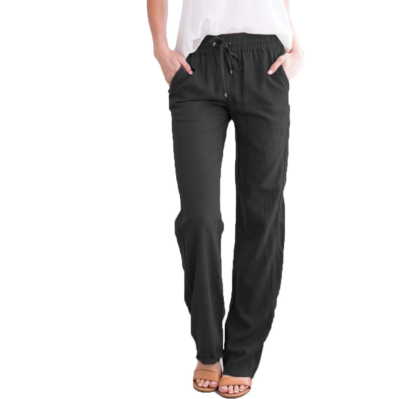 Women's Linen Pants Elastic Waist Long Tapered Pants Trousers Slacks with Pockets (3X-Large,Black)