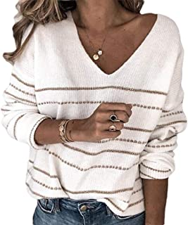 Women's Casual V Neck Long Sleeve Pullover Warm Loose Stripe Knitted Jumper Sweaters