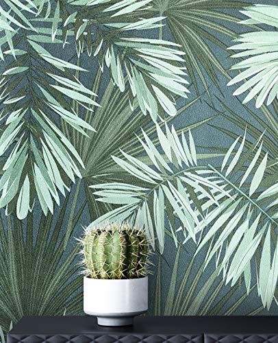 NEWROOM Tapete Modern Dschungel Palmen grün Vliestapete blau Vlies moderne Mustertapete Tapete Blumentapete Wallpaper Floral inkl. Tapezier Ratgeber