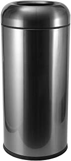 BEAMNOVA 115L / 30 Gal Trash Can Outdoor Indoor Garbage Enclosure with Lid Open Top Inside Cabinet Stainless Steel Industrial Waste Container, Black