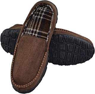 LA PLAGE 2018 Men's Advanced Anti-Slip Indoor/Outdoor Moccasin Slippers with Hardsole Size 13 US Brown