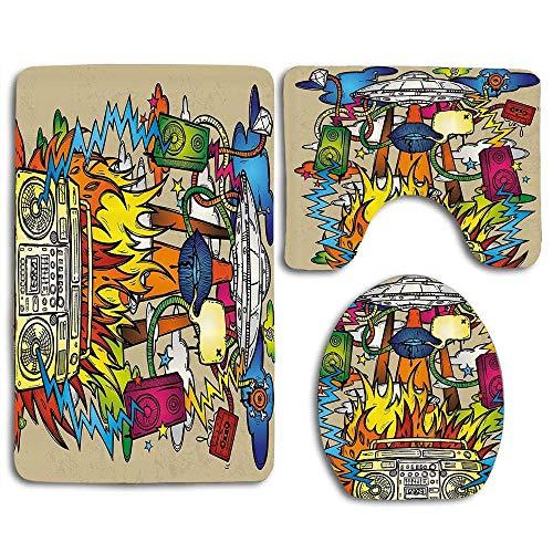 Hippie Funk Trippy Objekte Mit UFO Spieluhr Lippen Bänder Lautsprecher Bild 3er Set Teppiche Teppich