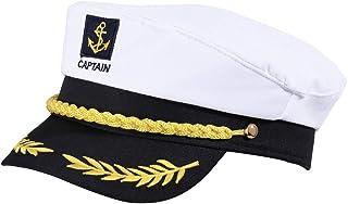 KKBES Captain Hat Sailors Cap Nautical Hat Yacht Hat Adjustable Sea Cap Costume Navy Marine Admiral Hat for Halloween Cost...