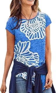 Women's Crewneck Short Sleeve Floral Print Blouse Irregular Hem Slim T-Shirt