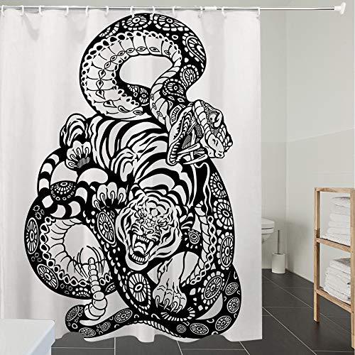 Duschvorhänge, Textil Bad Vorhang aus Polyester, Anti-Schimmel, Tiger, Stilszene mit Zwei Tieren im Kampf gegen Lange Schlange mit erhabener Groß,Blickdicht, Wasserdicht, Waschbar, 180X200cm