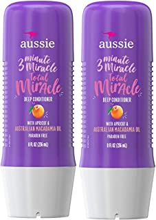 Aussie 3 Minute Total Miracle Treatment Deep Conditioner-Bundle Pack of 2- w/Apricot for Damaged Hair + Deep Condition + Paraben Free