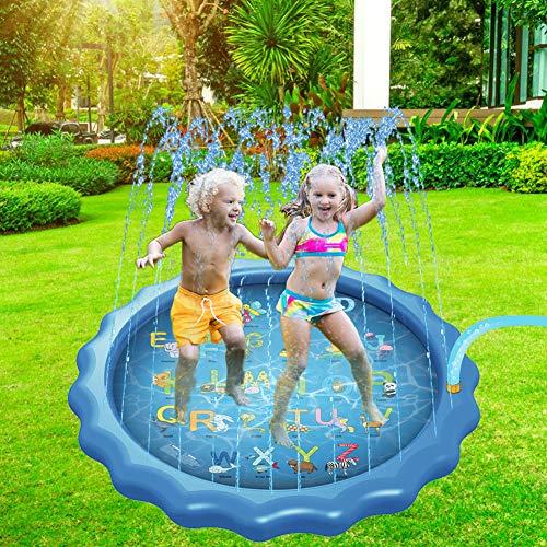 Dsaren Splash Pad 170CM/ 67' Juego de Salpicaduras Aspersor Juego para Niños Bebés Actividades Familiares Aire Libre Fiesta Playa Jardín Verano Juguetes Regalos (Letra)